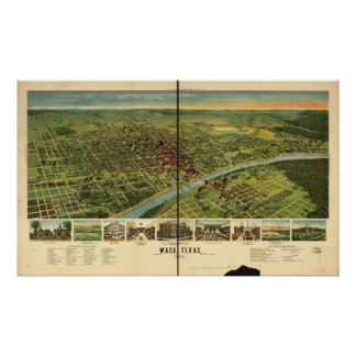 Waco Texas 1892 Antique Panoramic Map Poster