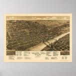 Waco, TX Panoramic Map - 1886 Poster