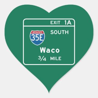 Waco, TX Road Sign Heart Sticker