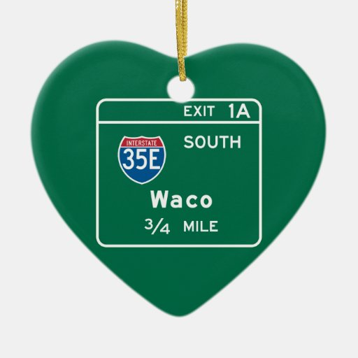 Waco, TX Road Sign Double-Sided Heart Ceramic Christmas Ornament