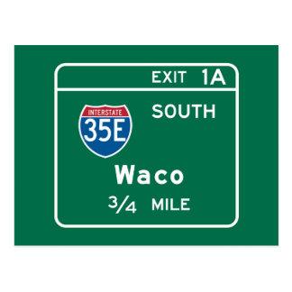 Waco, TX Road Sign Postcard