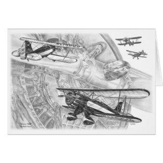 Waco YMF Biplane Drawing by Kelli Swan Card