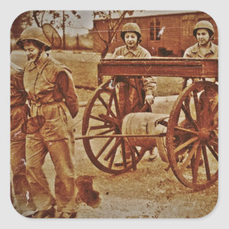 WACs Pulling a Hose Cart Square Stickers
