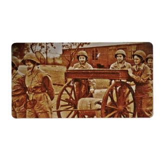 WACs Pulling Hose Cart Vintage WWII Label