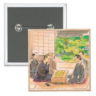Wada Sanzo Playing Go ukiyo-e japanese fine art Button
