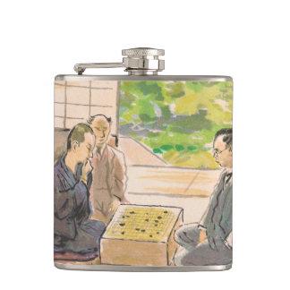 Wada Sanzo Playing Go ukiyo-e japanese fine art Hip Flasks