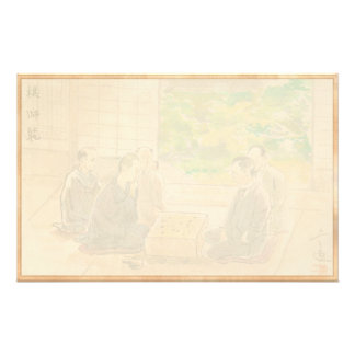 Wada Sanzo Playing Go ukiyo-e japanese fine art Custom Stationery