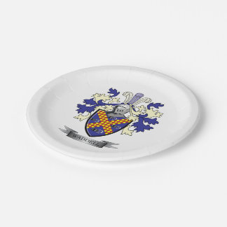 Waddell Family Crest Coat of Arms Paper Plate
