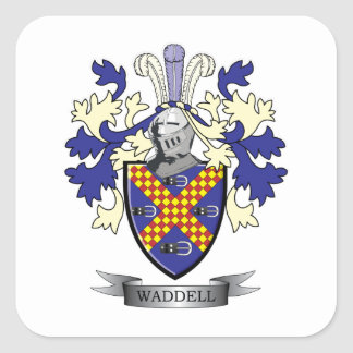 Waddell Family Crest Coat of Arms Square Sticker