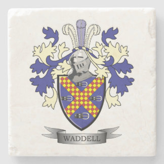 Waddell Family Crest Coat of Arms Stone Coaster