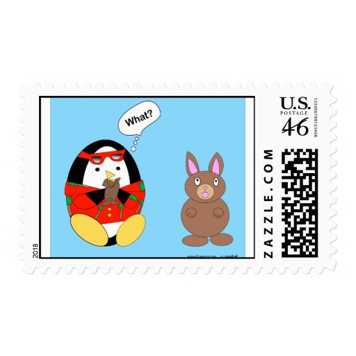 Waddles Chocolate Easter Bunny Postage Stamp