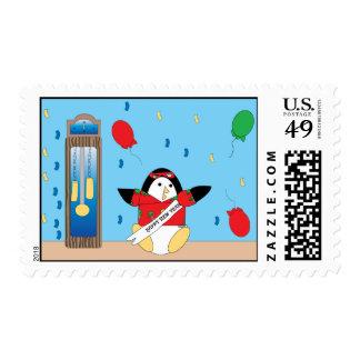 Waddles el sello de las Felices Año Nuevo del ping