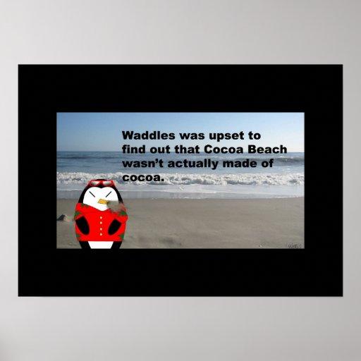 Waddles en el poster de la playa del cacao