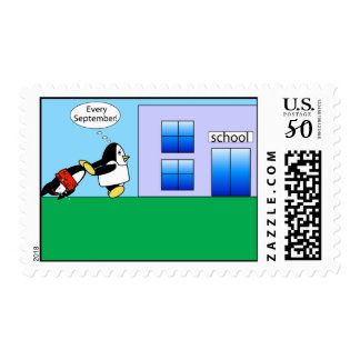 Waddles goes back to school postage stamp