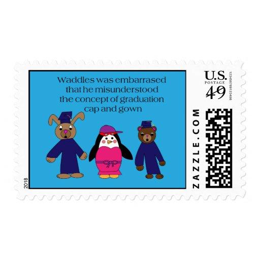 Waddles Graduation Mistake Postage Stamp