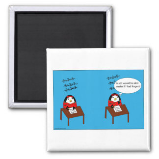 Waddles hates math 2 inch square magnet