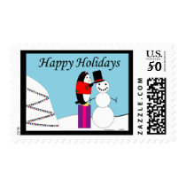 Waddles Holiday postage stamp