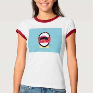 Waddles Shares the Love Ladies Ringer T-Shirt