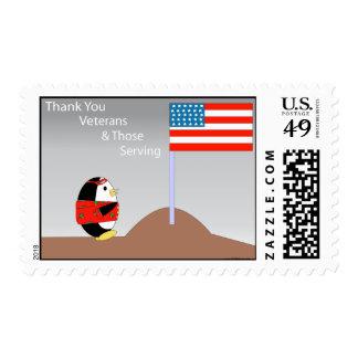 Waddles Thanks Veteran Postage Stamp