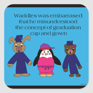 Waddles the Penguin Graduation Mistake Sticker