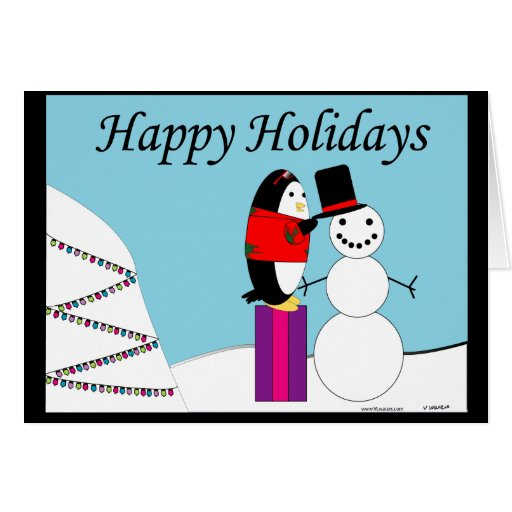 Waddles the Penguin Happy Holiday Greeting Cards