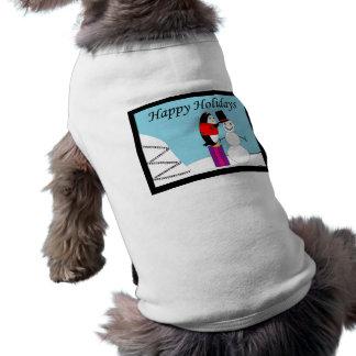 Waddles the Penguin Happy Holiday Dog T-shirt