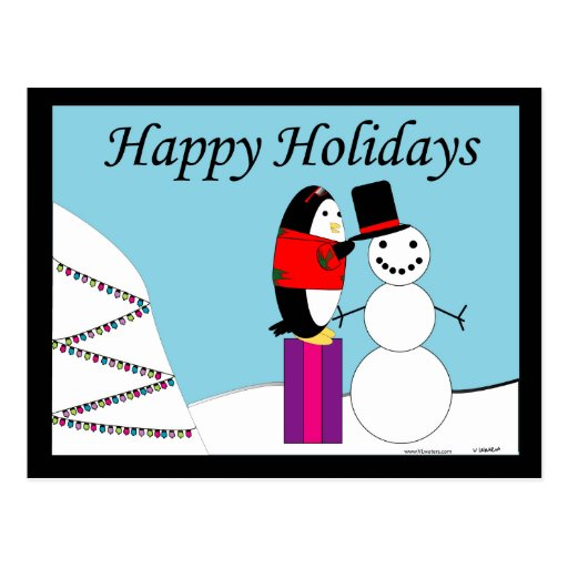 Waddles the Penguin Happy Holiday Postcard