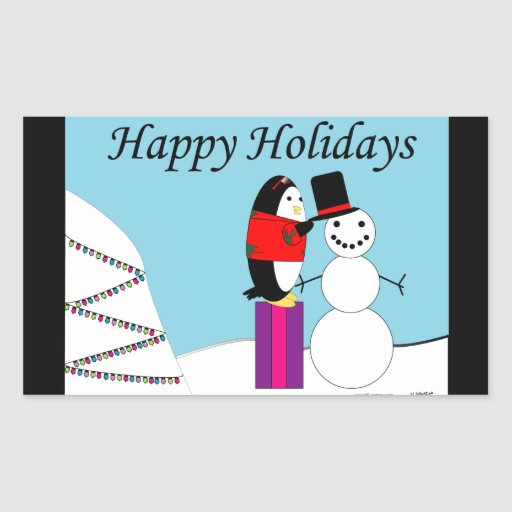 Waddles the Penguin Happy Holidays Sticker