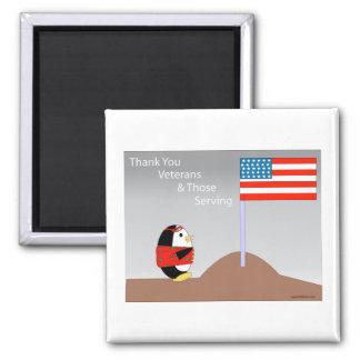 Waddles the Penguin Thanks Veterans Magnet