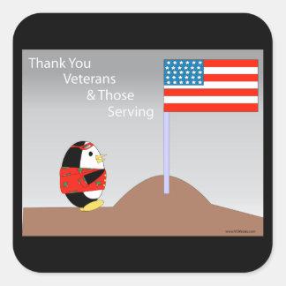 Waddles the Penguin Thanks Veterans Sticker