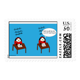 Waddles tries math postage stamp