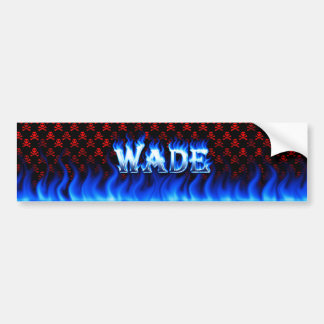 Wade blue fire and flames bumper sticker design car bumper sticker