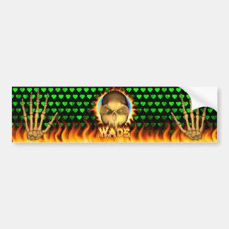 Wade skull real fire and flames bumper sticker des car bumper sticker