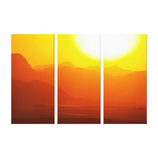 Wadi Rum Desert Sunset Triptych Wall Hanging Stretched Canvas Print