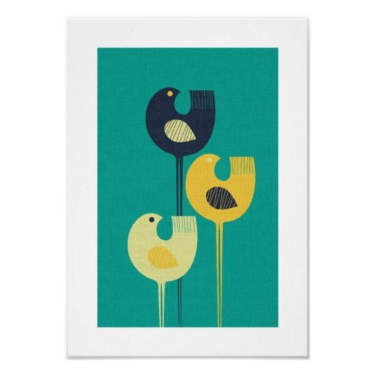 Wading Birds Mid Century Modern Minimalist Poster