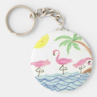 Wading Flamingos Basic Round Button Keychain