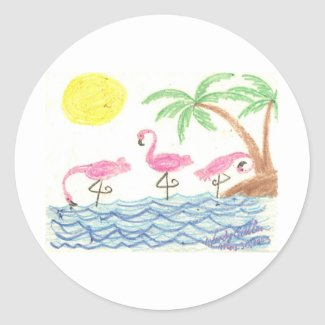 Wading Flamingos Classic Round Sticker
