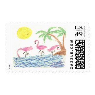 Wading Flamingos Postage Stamp