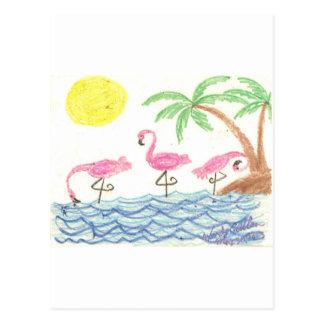 Wading Flamingos Postcard