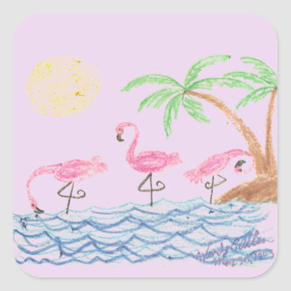 Wading Flamingos Square Sticker