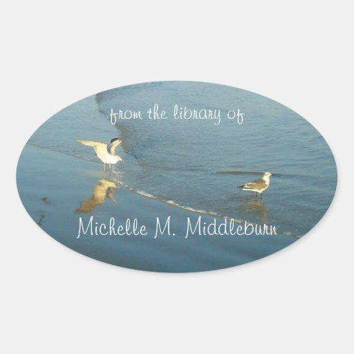 Wading Gulls Custom Bookplate Oval Sticker