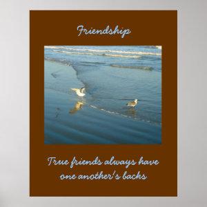 Wading Gulls Friendship Poster print