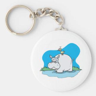 wading hippo and silly bird basic round button keychain