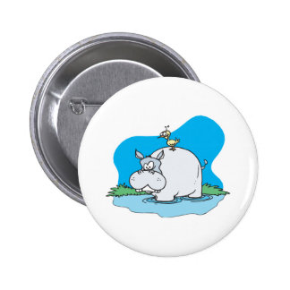 wading hippo and silly bird 2 inch round button