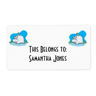 wading hippo and silly bird shipping label