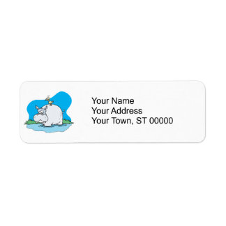 wading hippo and silly bird return address label