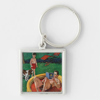 Wading Pool Silver-Colored Square Keychain