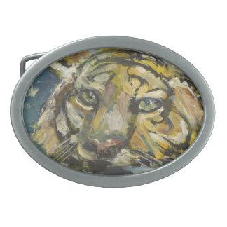Wading Tiger Oval Belt Buckle