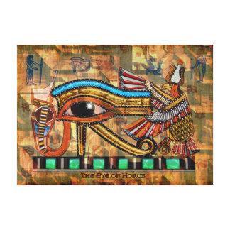 Wadjet - Eye of Horus on Faux Papyrus Print Canvas Print