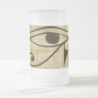 WADJET EYE OF HORUS on Papyrus Gift Series Frosted Glass Beer Mug